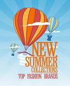 New summer collections design with balloons carrying fashion clothes