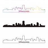 Milwaukee Skyline Linear Style With Rainbow