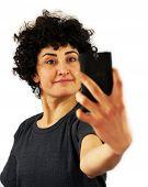 Woman takes a self portrait