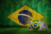 Brazil 2014 against brazil flag in grunge effect