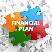 Financial Plan on Multicolor Puzzle.