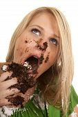 Woman Green Shirt With Cake Mess Close Look Up