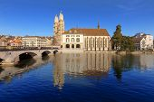 Zurich, The Water Church And The Great Minster