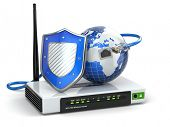 Internet security. Router with shield and earth. 3d