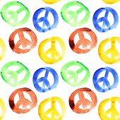 Colorful peace signs seamless pattern