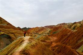 stock photo of landforms  - Zhangye Danxia landform located in Linze County - JPG