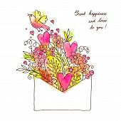 Greeting card with hearts, bird and flowers.