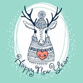 Hand drawn vector illustration with cute deer. Happy New Year card