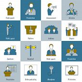 foto of public speaking  - Public speaking flat line icons set with speech presentation announcement interview isolated vector illustration - JPG