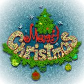 Vector illustration of Merry Christmass label for your design