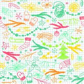 Colorful Seamless Hand Drawn Christmas Pattern