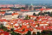 Aerial View Over Prague Castle In Prague, Czech Republic