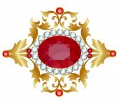 picture of brooch  - Vintage brooch with ornate gold and precious stone - JPG