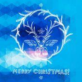 Hand Drawn Christmas Greeting Card With Deer Head. Eps10