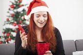 Girl Is Happy Open Christmas Present