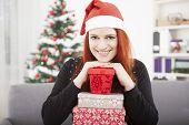 Girl Is Posing With Christmas Present