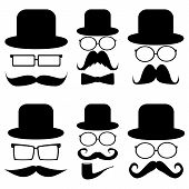 Set mustache, hats, glasses