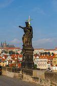 Jesus With Cross At Charles Bridge. Prague, Czech Republic.