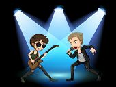 Illustration of two rock stars singing on stage