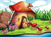Illustration of many ants and a mushroom house