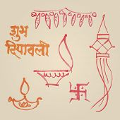 Sketches of various elements from Diwali festival - Vector illustration.