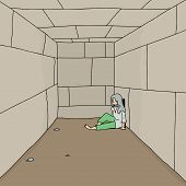 Depressed Vagrant In Corridor