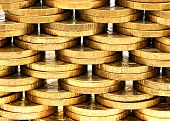picture of copper coins  - Background of the plurality of rows of copper coins - JPG
