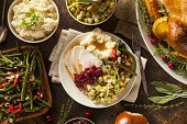 stock photo of gourmet food  - Homemade Thanksgiving Turkey on a Plate with Stuffing and Potatoes - JPG
