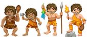 Illustration of many cavemen with weapons