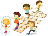 stock photo of hopscotch  - Illustration of many children playing hopscotch - JPG