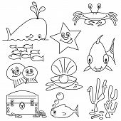 Selection of sea life clip art cartoons