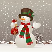 Snowman with a red scarf and hat against the winter landscape. Christmas & New-Year's greeting card.