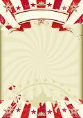 circus Kraft sunbeams. A circus background on a  Kraft grunge paper with red sunbeams. Ideal poster for your show