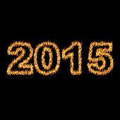 2015 Font Written With Hot Flames