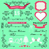 Vintage Wedding design elements.Ornate set