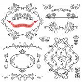 Set of curled calligraphic design elements.Swirling decor