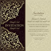 Orient invitation, dark brown and beige