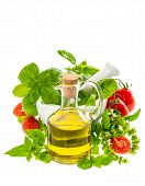 Olive Oil With Fresh Basil Leaves And Tomatoes. Italian Food Ingredients