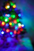 Shiny blurred lights jn the Christmas fir