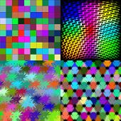 Set of Abstract rainbow colorful tiles mosaic painting geometric palette pattern background. Vector