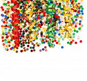 Colorful Party Decoration With Confetti And Shiny Streamer