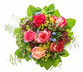 Roses Bouquet Isolated On White Background. Pink And Red  Flowers