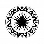 Black and white zodiac icon