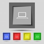 Laptop sign icon. Notebook pc with graph symbol. Monitoring. Set colourful buttons. Vector