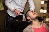 Hairstylist Hairdresser Washing Customer Hair