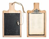 Kitchen Board With Chalkboard And Clipboard For Recipe