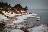 Ice and snow built up along the north shore of Prince Edward Island, Canada.