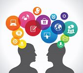 The concept of human communication in the global computer network. two silhouettes of people's heads