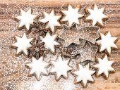 Cinnamon Stars With Sugar Powder