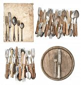 Aged Paper, Antique Kitchen Utensils And Vintage Silver Cutlery